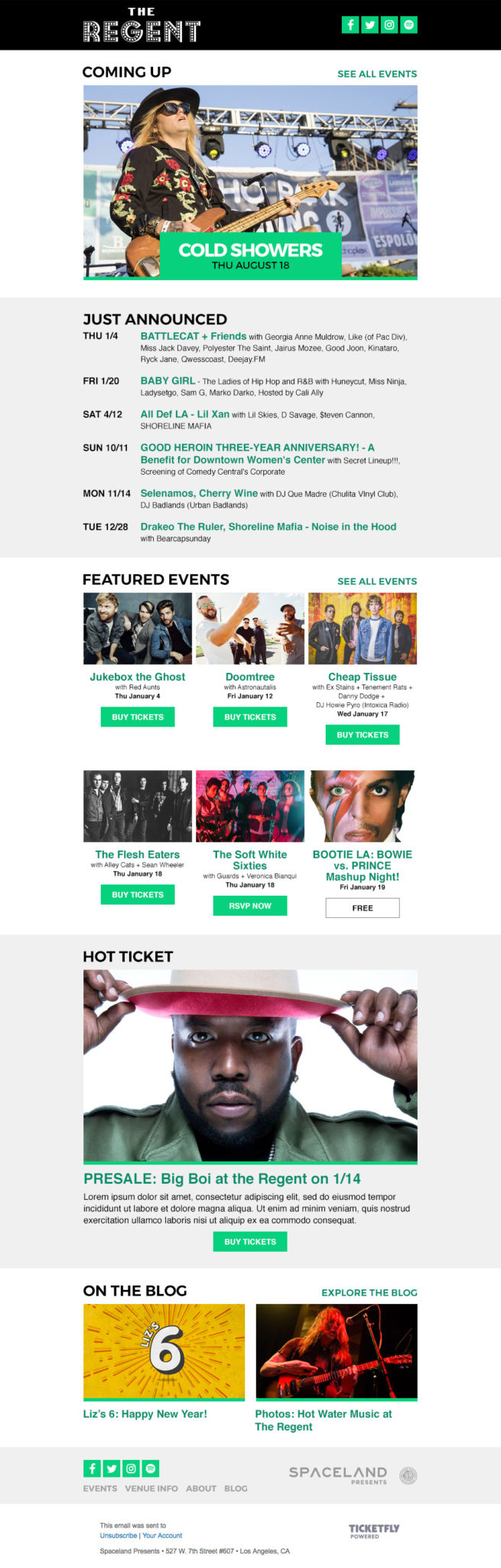 Spaceland Presents Email Newsletter Redesign