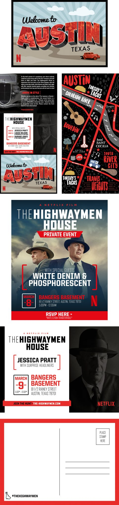 SXSW Event Graphic Design Assets, created for Netflix's The Highwaymen